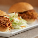 Eastern Carolina BBQ Chicken Sliders with Creamy Slaw